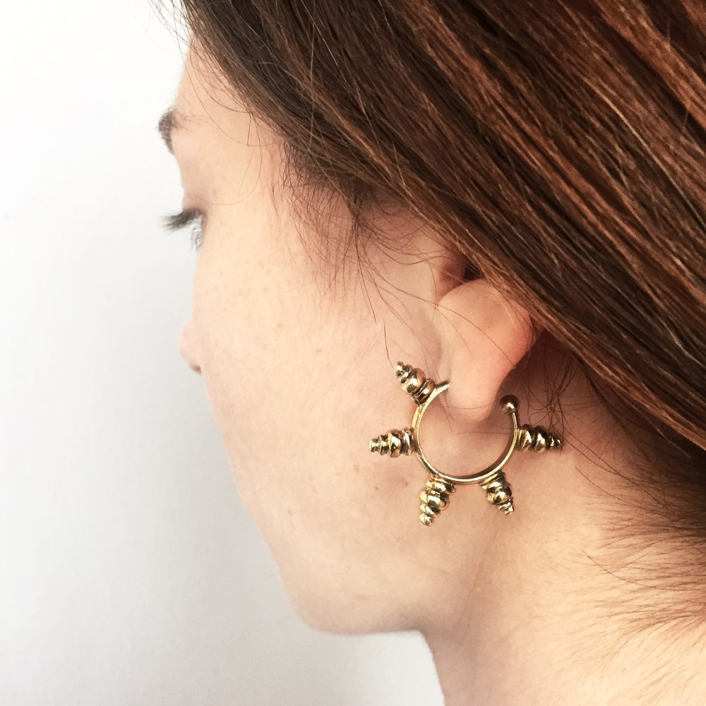 Tribal Spike Gold Hoops