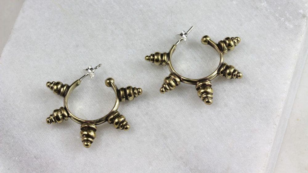 Tribal Spike Gold Hoops