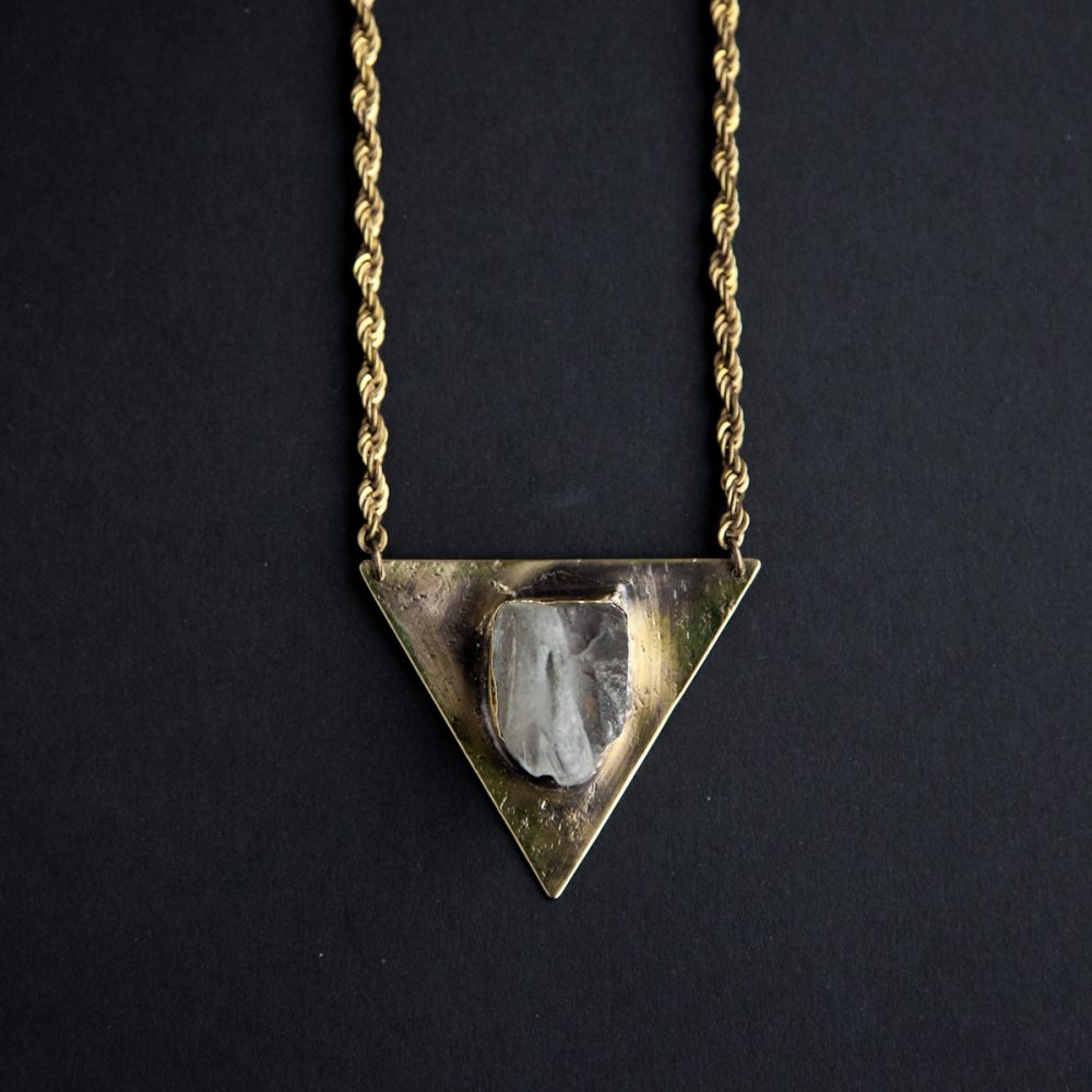 Raw Quartz Triangle Necklace