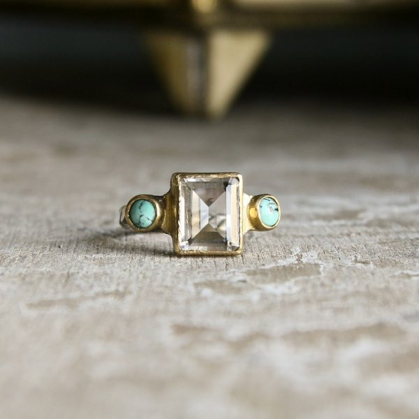 Emerald Cut Quartz And Turquoise Ring