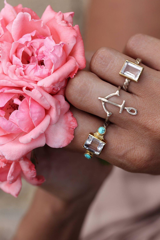 Emerald Cut Quartz And Turquoise Ring