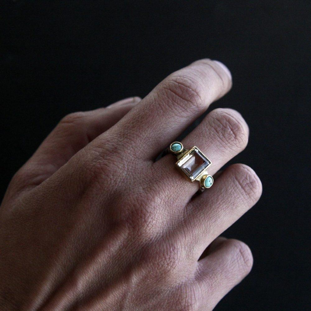 Alyona Emerald Cut Quartz And Turquoise Ring