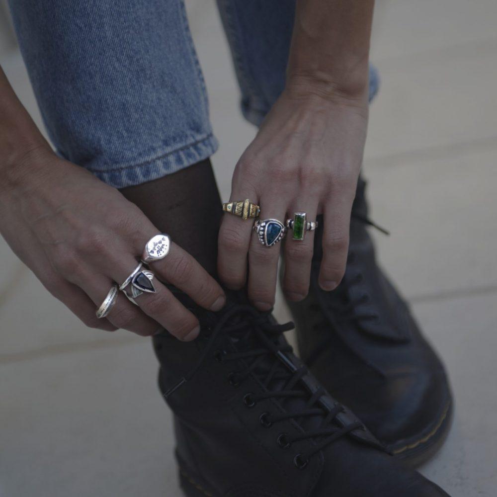 Arrow Silver Onyx Ring