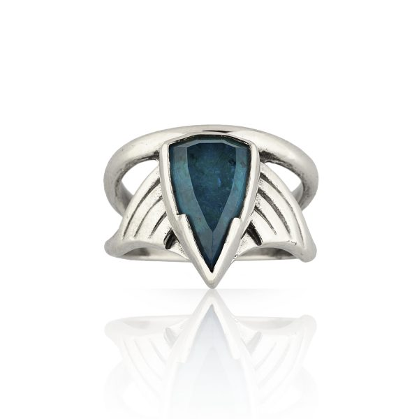 Arrow silver apatite Ring