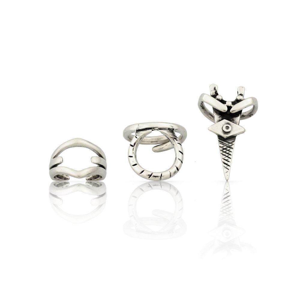 Eumache Silver Ring Set
