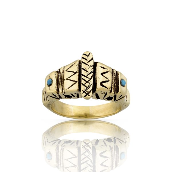 Aztec Turquoise Gold Ring
