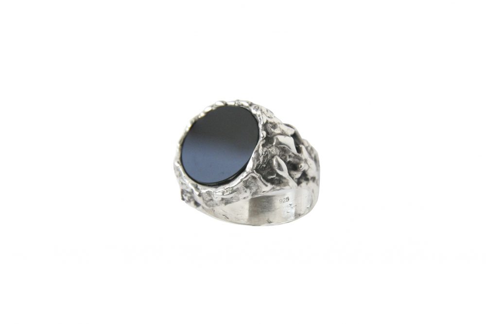 Melting Onyx Silver Ring