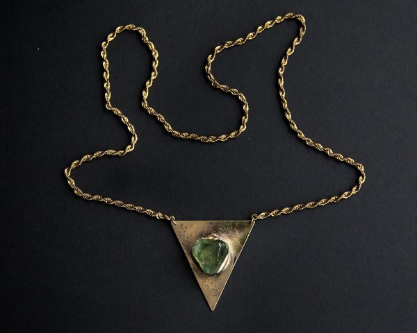 Raw Fluorite Triangle Necklace
