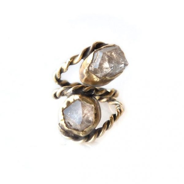 Double Herkimer Crystal Ring