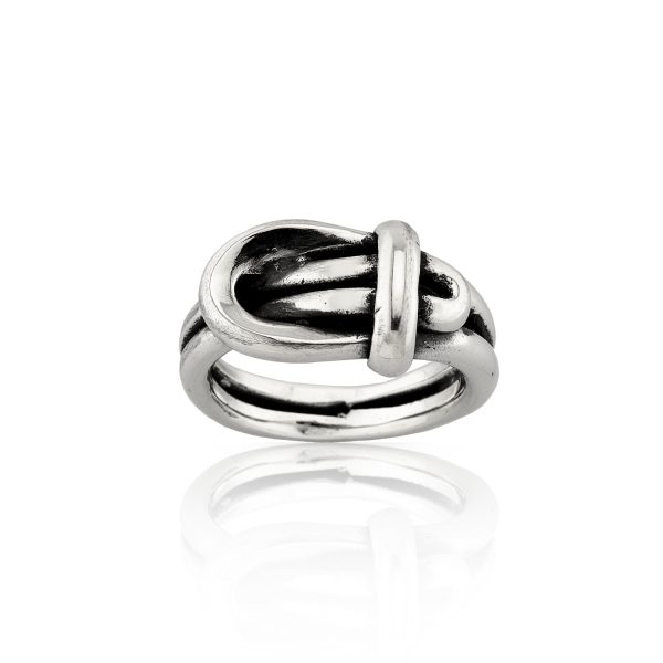 Buckle Sculptural Silver Ring