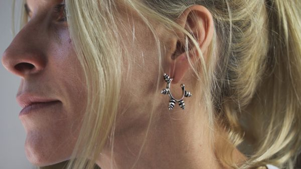 Tribal Spike Silver Hoops