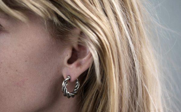 Twist Silver Hoop Earrings