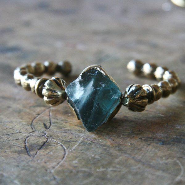 Raw Fluorite Stone Cuff