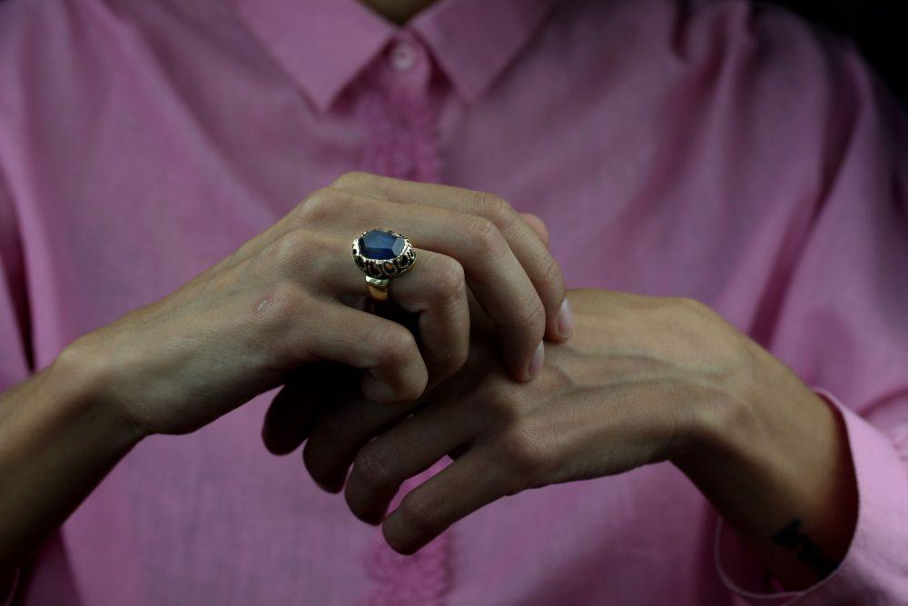 Elizabeth Spectrolite Filigree Ring