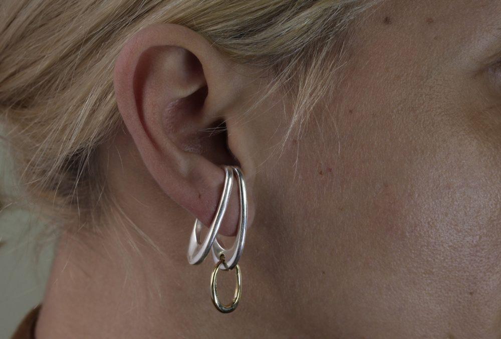 Theta II Silver Ear Cuff