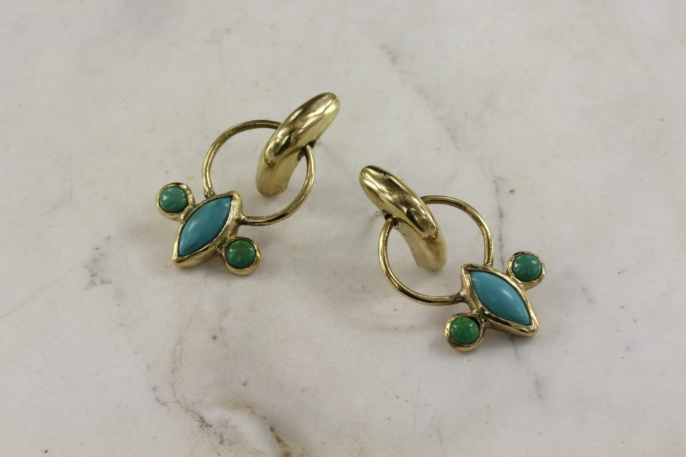 Daisy Articulated Turquoise Earrings