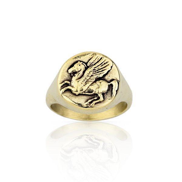 Pegasus Signet Gold Ring