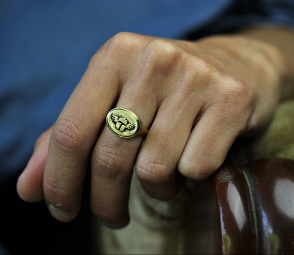 Scarab Signet Gold Ring