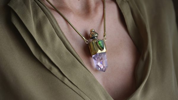 Amethyst And Dioptase Necklace