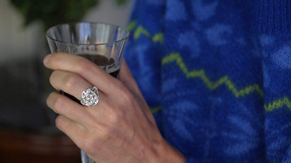 Eye Engraved Silver Ring