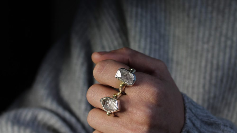 Herkimer Diamond Silver Ring