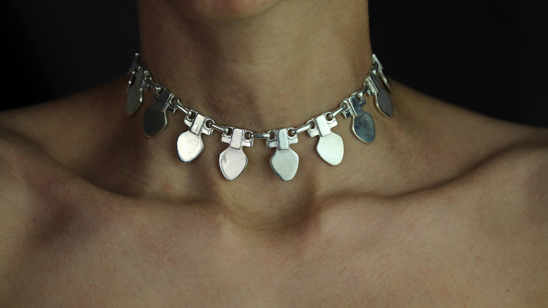 Medea silver modernist necklace