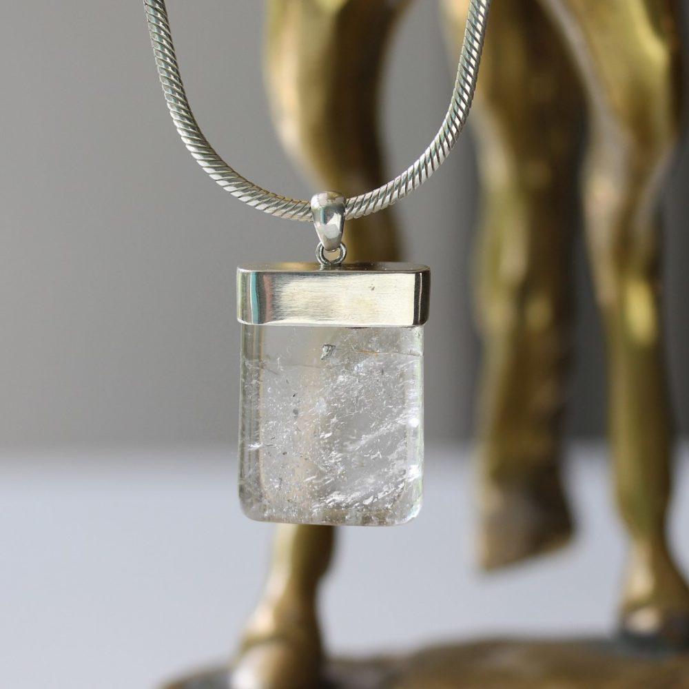 Rectangle Cut Quartz Crystal Pendant Necklace
