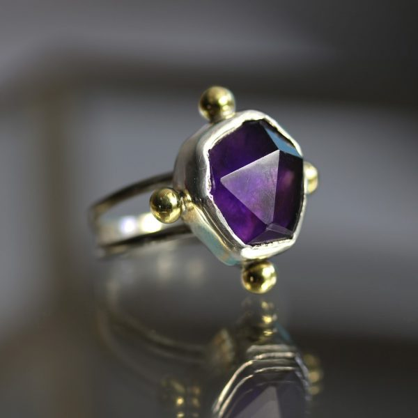 Amethyst Split Band Silver Ring