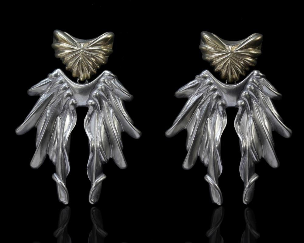 Phoenix Dangling Earrings Gold And Silver